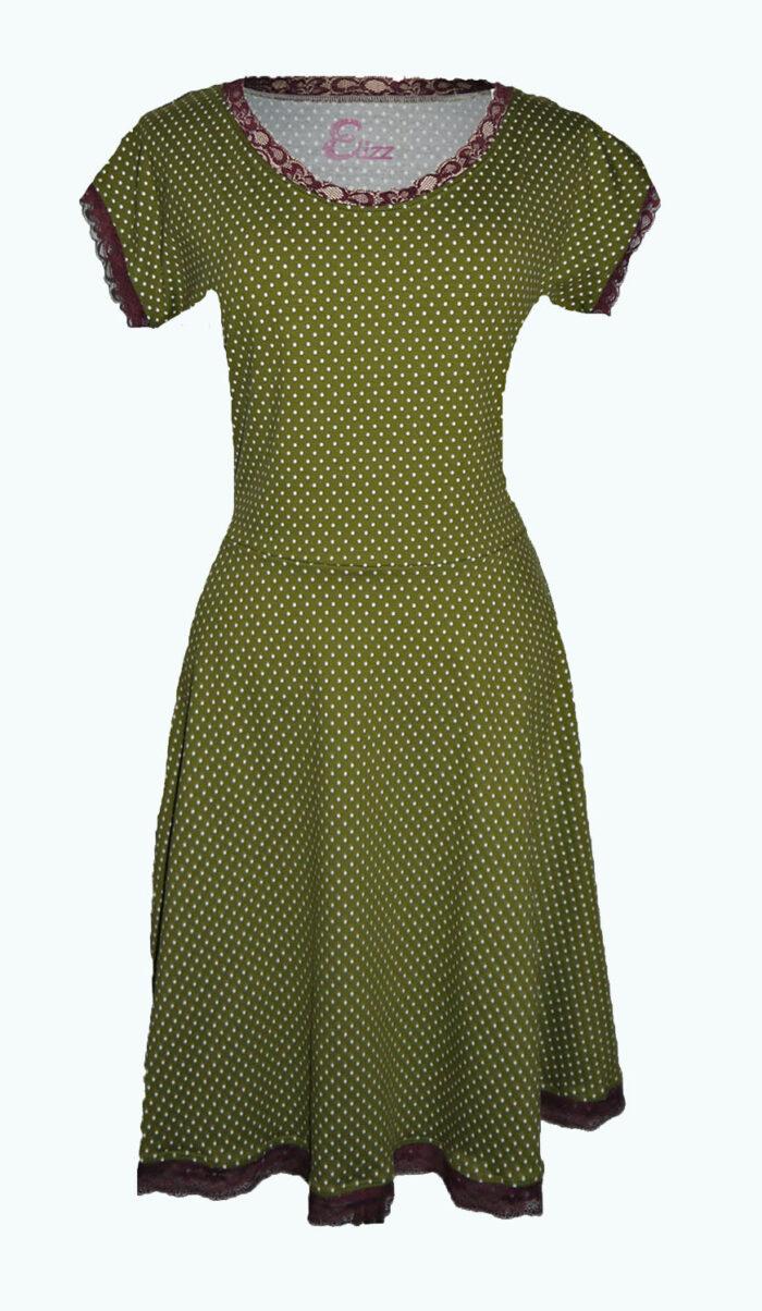 olive, stippen jurk, Elizz