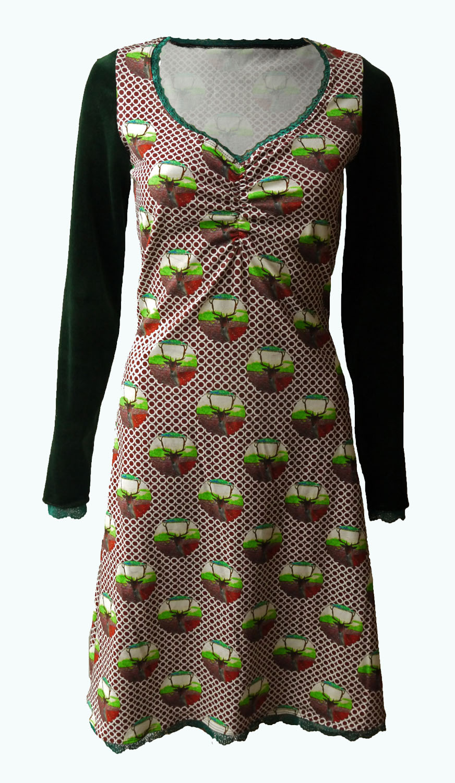 f62963f9f78e74 Dear - jurk met hertjes- bruine jurk met hertjes- Elizz maat 36 t m 56