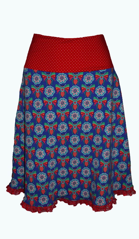 787f62b5d0e059 Crush kobaltblauwe rok met vlinders -damesrok- 36 t/m 56 Elizz