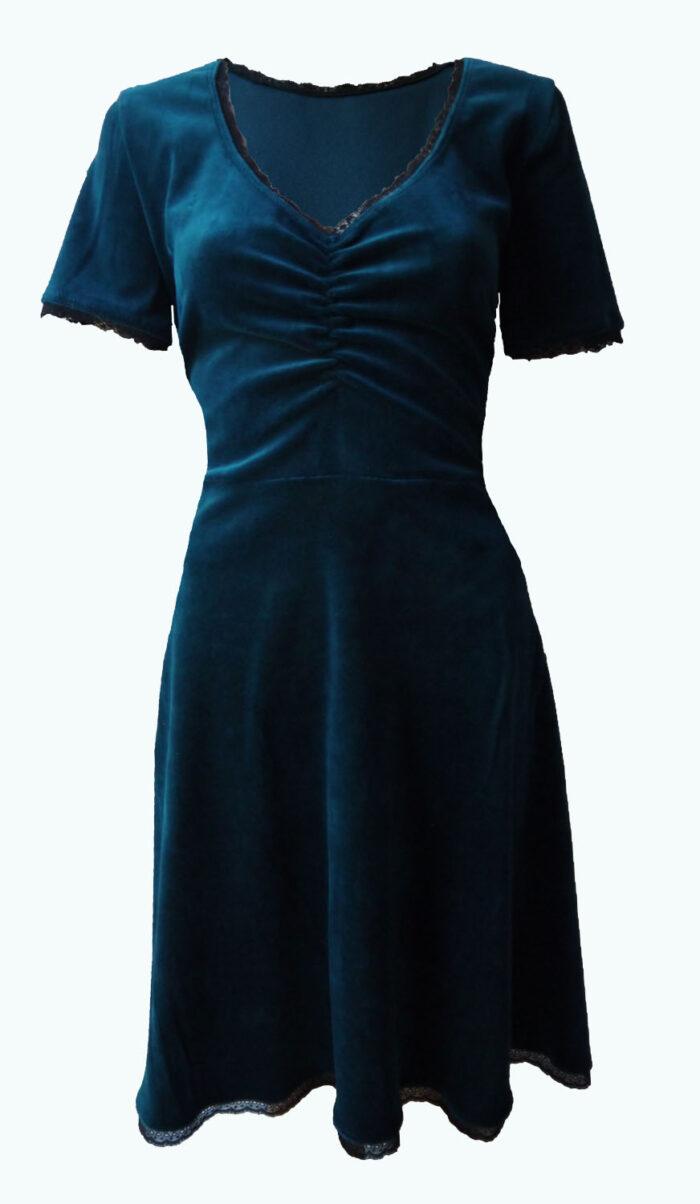 velvet jurkje, petrol Elizz