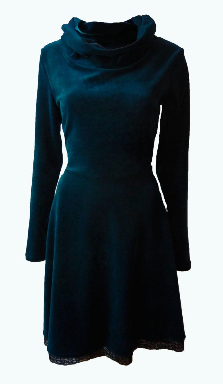 velvet jurk, Zwierjurk met col, Elizz
